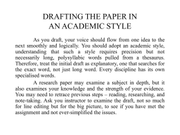 DRAFTING THE PAPER IN AN ACADEMIC STYLE