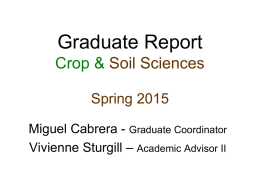 Graduate Report Crop & Soil Sciences Spring 2015