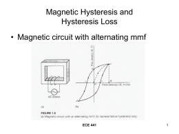 Magnetic Hysteresis and Hysteresis Loss • Magnetic circuit with alternating mmf ECE 441