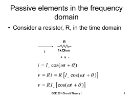 Passive elements in the frequency domain  