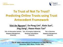 To Trust of Not To Trust? Predicting Online Trusts using Trust