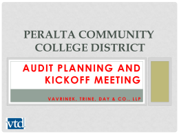 VTD Annual Audit Planning and Kick-Off Meeting Presentation 3-24-2016