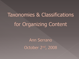 Taxonomies & Classification for Organizing Content