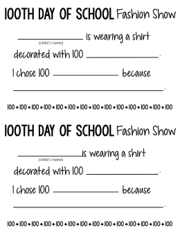 100th Day T-shirt Project