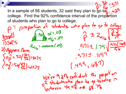 Notes on Finding Sample Size