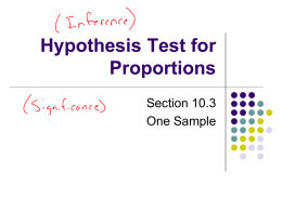 Notes on One Sample Proportion Significance Tests