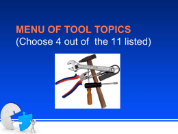 MENU OF TOOL TOPICS