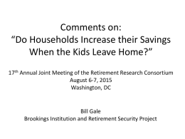 "Comments on: ""Do Households Increase their Savings When the Kids Leave Home?"""