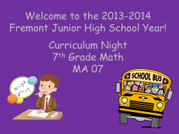 Curriculum Night Powerpoint
