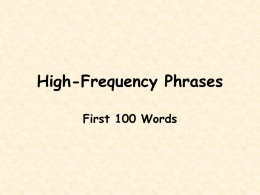 Fry's Phrases - First 100 words