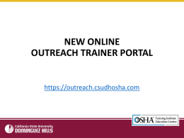 New Trainer Portal ppt