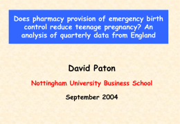 Does pharmacy provision of emergency birth control reduce teenage pregnancy? An analysis of quarterly data from England