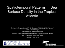 Spatiotemporal Patterns in Sea Surface Density in the Tropical Atlantic.