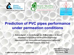 Prediction of PVC pipes performance under permeation conditions