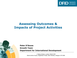 Assessing Outcomes Impacts of Project Activities