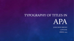 16. Typography of Titles in APA