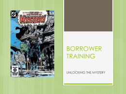 General Presentation on Borrower Training