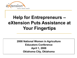 Help for Entrepreneurs--eXtension Puts Assistance at Your Fingertips