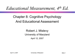 Thoughts on the Cognitive Psychology and Educational Assessment chapter