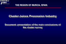 The Region of Murcia: Juices Procession Industry - Presentation of the main conclusions of the cluster survey,