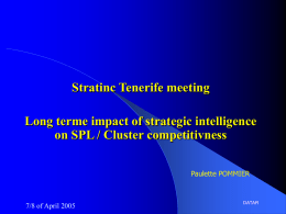 Long terme impact of strategic intelligence on SPL / Cluster competitivness