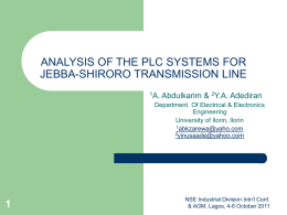 ANALYSIS OF THE PLC SYSTEMS FOR JEBBA-SHIRORO TRANSMISSION.ppt