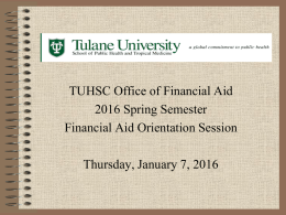 Spring 2016 Financial Aid Orientation