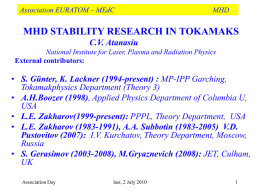 MHD stability research in tokamaks