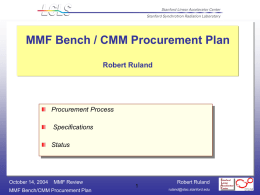 Bench Procurement Plan