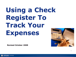 Using a Check Register to Track Your Expenses