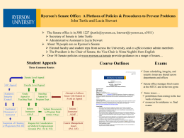 Ryerson's Senate Office: A Plethora of Policies Procedures to Prevent Problems