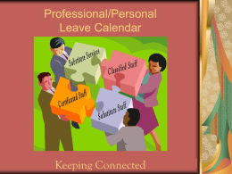 Professional and Personal Leave Calendar Instructions