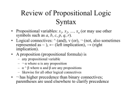 Review of Propositional Logic, Satisfiability, GSAT, WSAT