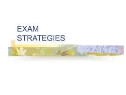 Exam Strategies