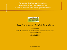 "Translating the ""right to the city"" – Traduire le « droit à la ville"