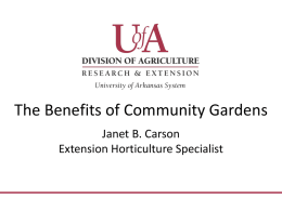 Information on the benefits of a community garden