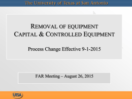 Removal of Equipment -- Changes in Process