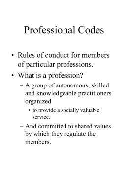 Week 8 Lecture: Professional Codes [PPT]